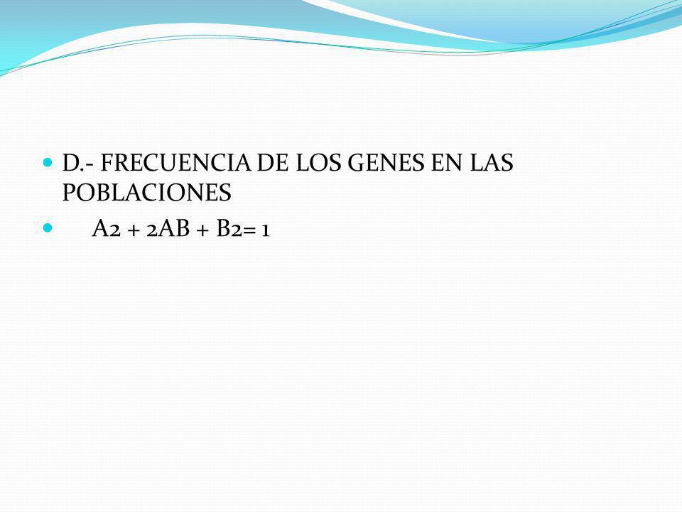 C.- LEY DE HARDY Y WEINBERG 1.- EL VALOR DE UN ALELO ES IGUAL A A 2.- EL VALOR DEL OTRO ALELO ES IGUAL A B 3.- A+B= 1 4.- LOS CRUZAMIENTOS SON AL AZAR