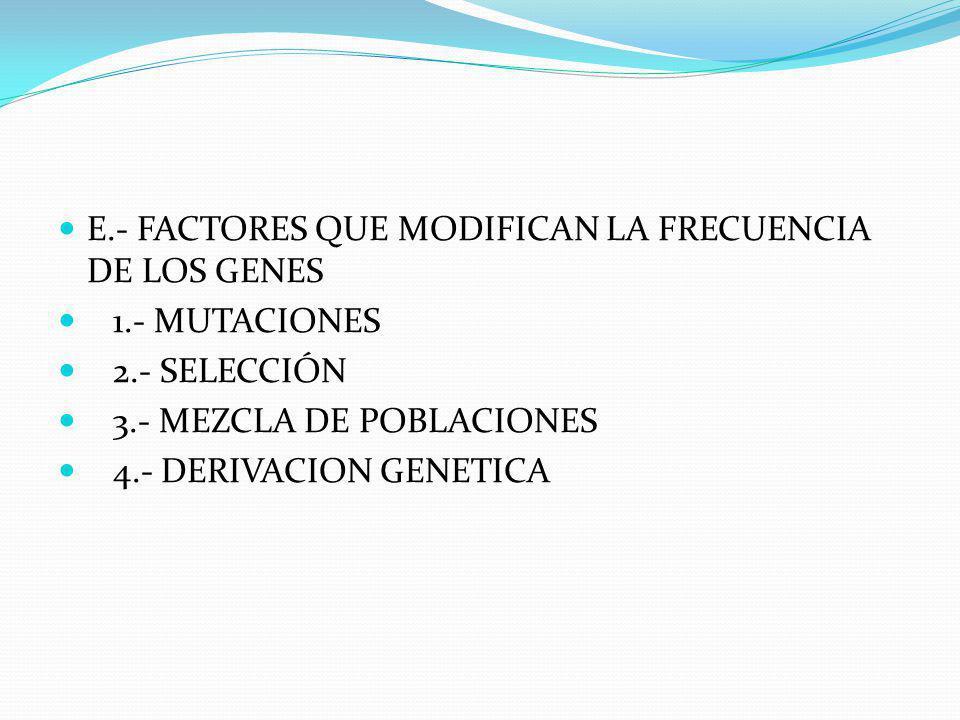D.- FRECUENCIA DE LOS GENES EN LAS POBLACIONES A2 + 2AB + B2= 1