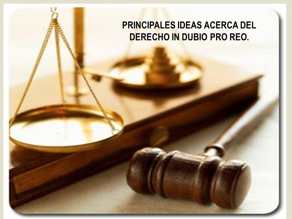 PRINCIPALES IDEAS ACERCA DEL DERECHO IN DUBIO PRO REO