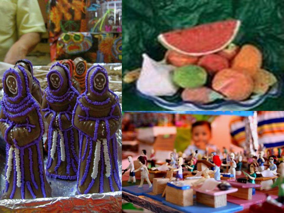 ¿CUALES SON SUS PRESENTACIONES? Los dulces que se pueden encontrar son el alfeñique en formas de ataúd, cráneo, cruz, borrego, venados, huesos, proces