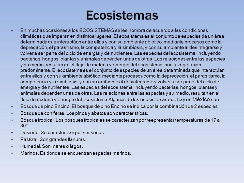 Ecosistemas En muchas ocasiones a los ECOSISTEMAS se les nombra de acuerdo a las condiciones climáticas que imperan en distintos lugares. El ecosistem