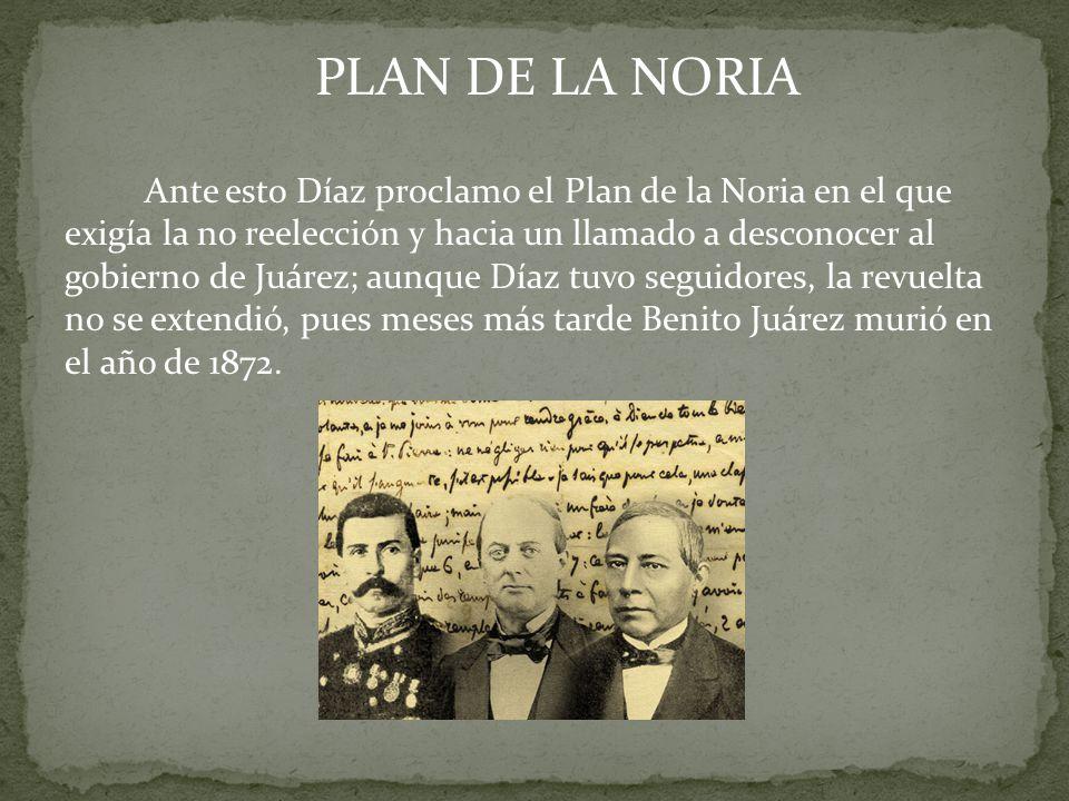 Al morir Juárez, Sebastián Lerdo de Tejada asumió la presidencia de la Republica de 1872 a 1876, durante su mandato: Enfrento a la Iglesia, aplico con rigidez las Leyes de Reforma, impulso el federalismo, la separación y el equilibrio de los tres poderes, La participación mediante el voto El respeto a los derechos civiles
