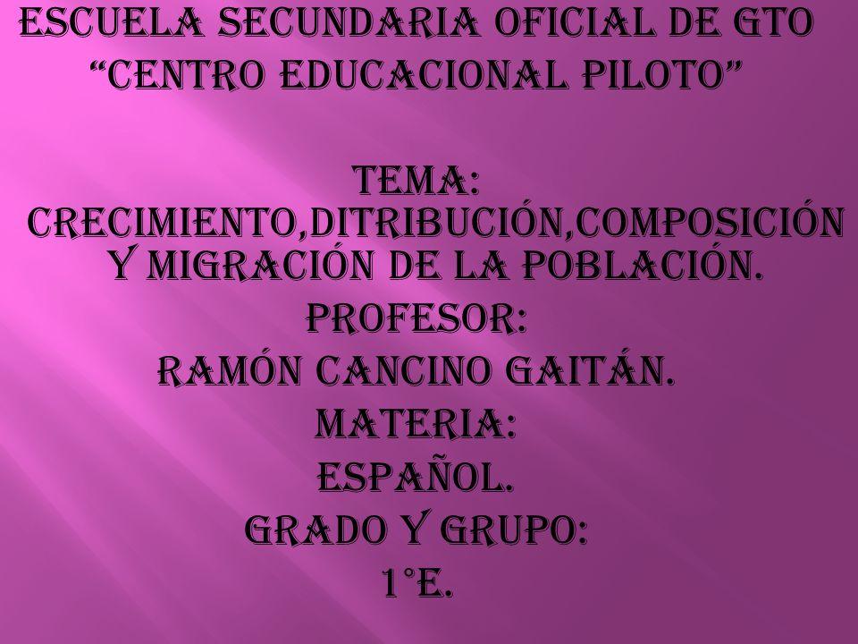 ESCUELA SECUNDARIA OFICIAL DE GTO CENTRO EDUCACIONAL PILOTO TEMA: crecimiento,ditribución,composición y migración de la población.