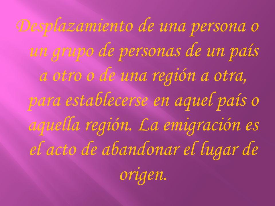 Desplazamiento de una persona o un grupo de personas de un país a otro o de una región a otra, para establecerse en aquel país o aquella región. La em