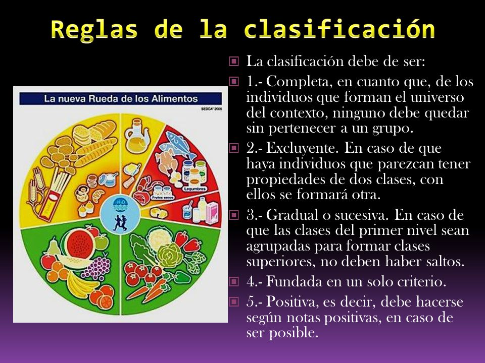La clasificación debe de ser: 1.- Completa, en cuanto que, de los individuos que forman el universo del contexto, ninguno debe quedar sin pertenecer a