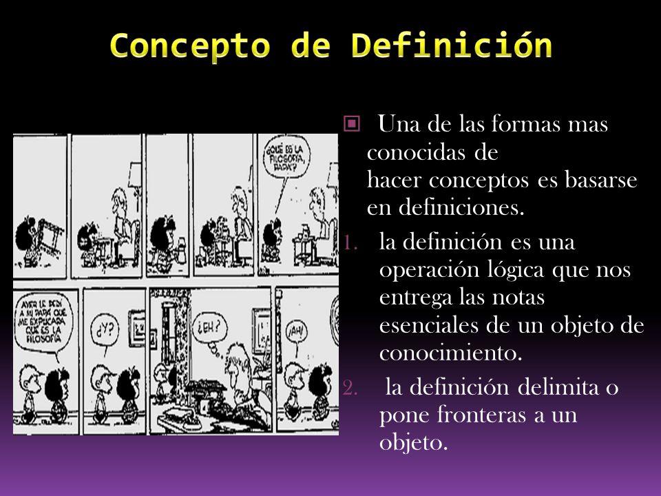 Una de las formas mas conocidas de hacer conceptos es basarse en definiciones. 1. la definición es una operación lógica que nos entrega las notas esen