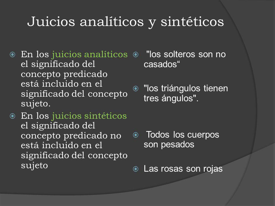Juicios analíticos y sintéticos En los juicios analíticos el significado del concepto predicado está incluido en el significado del concepto sujeto. E