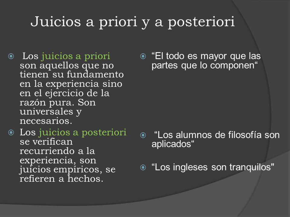 Juicios a priori y a posteriori Los juicios a priori son aquellos que no tienen su fundamento en la experiencia sino en el ejercicio de la razón pura.