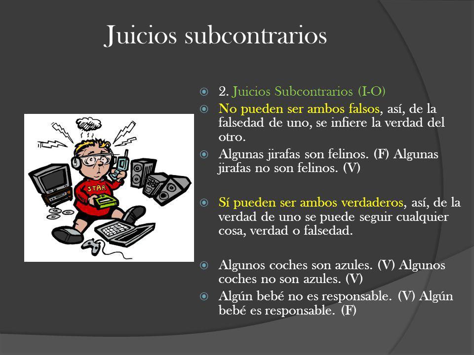 Juicios subcontrarios 2. Juicios Subcontrarios (I-O) No pueden ser ambos falsos, así, de la falsedad de uno, se infiere la verdad del otro. Algunas ji