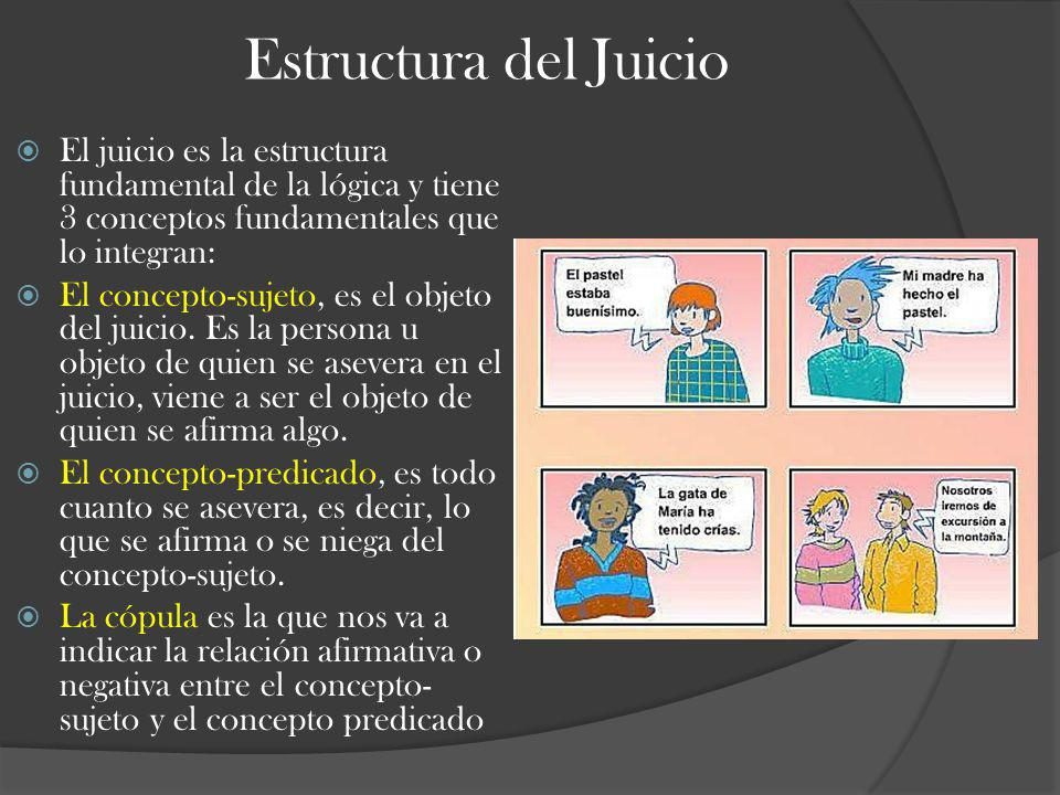 Estructura del Juicio El juicio es la estructura fundamental de la lógica y tiene 3 conceptos fundamentales que lo integran: El concepto-sujeto, es el