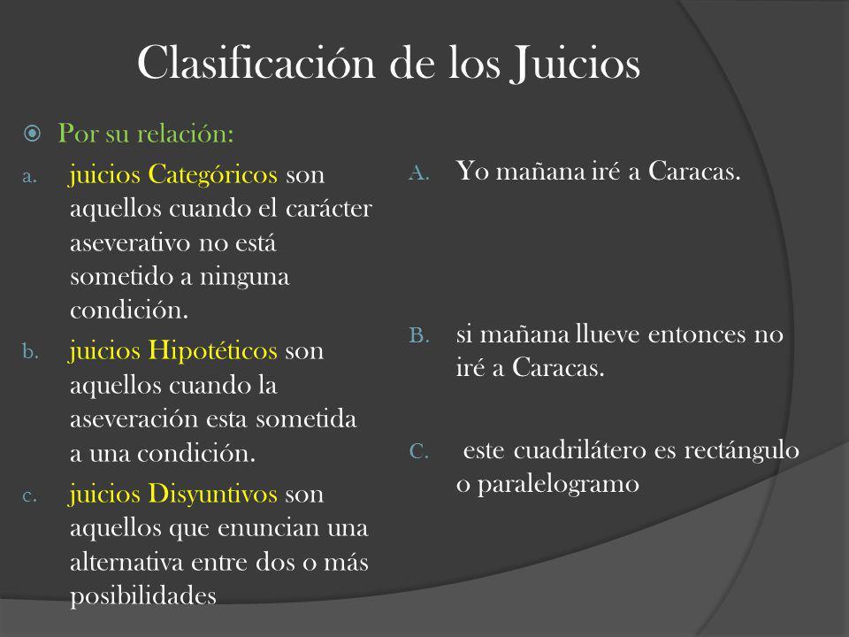 Clasificación de los Juicios Por su relación: a. juicios Categóricos son aquellos cuando el carácter aseverativo no está sometido a ninguna condición.