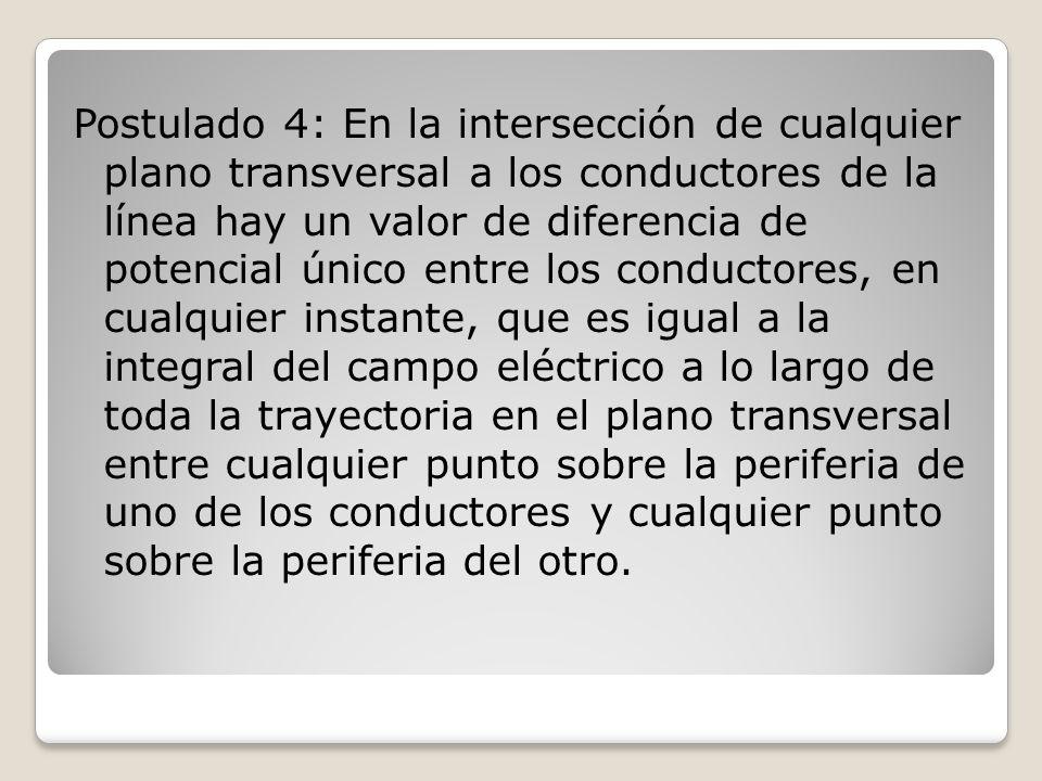 Postulado 4: En la intersección de cualquier plano transversal a los conductores de la línea hay un valor de diferencia de potencial único entre los c
