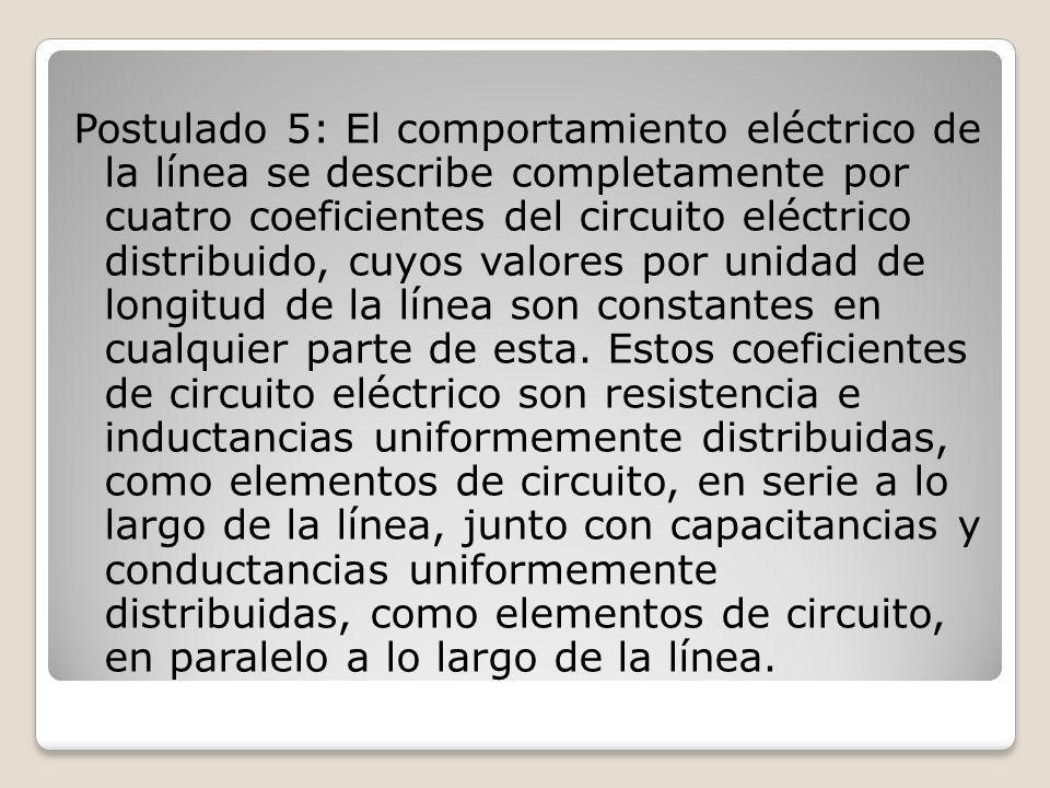 Postulado 5: El comportamiento eléctrico de la línea se describe completamente por cuatro coeficientes del circuito eléctrico distribuido, cuyos valor