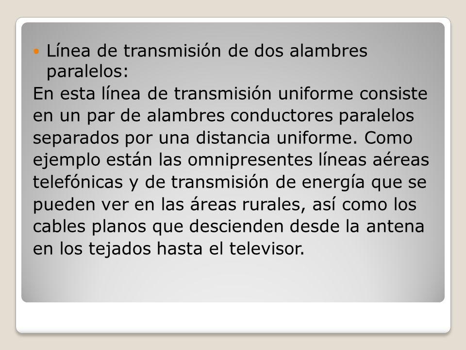 Línea de transmisión de dos alambres paralelos: En esta línea de transmisión uniforme consiste en un par de alambres conductores paralelos separados p