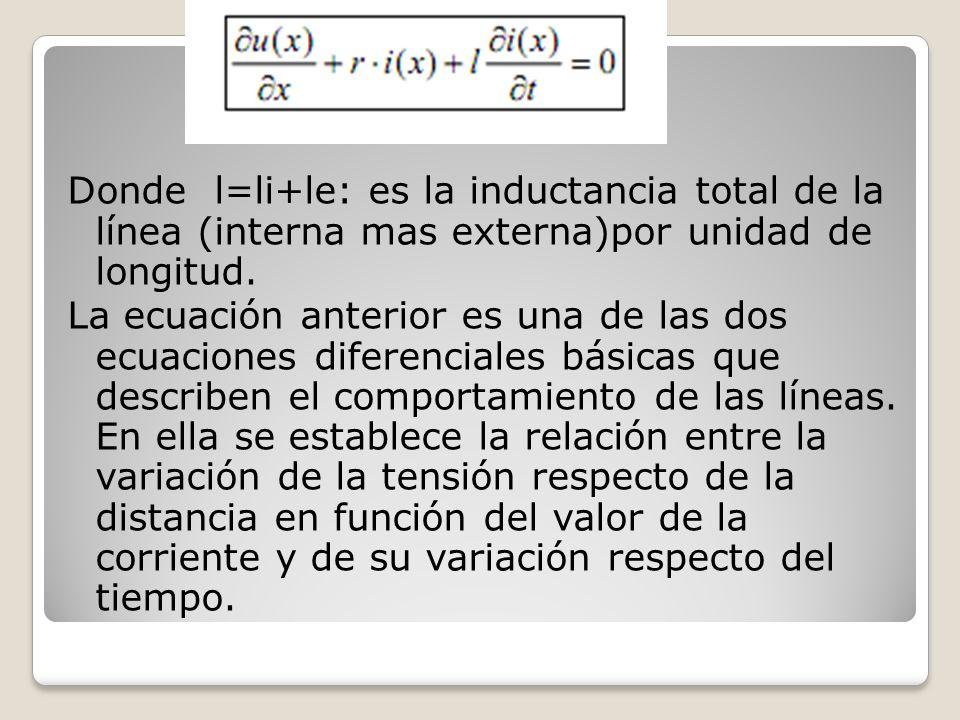Donde l=li+le: es la inductancia total de la línea (interna mas externa)por unidad de longitud. La ecuación anterior es una de las dos ecuaciones dife