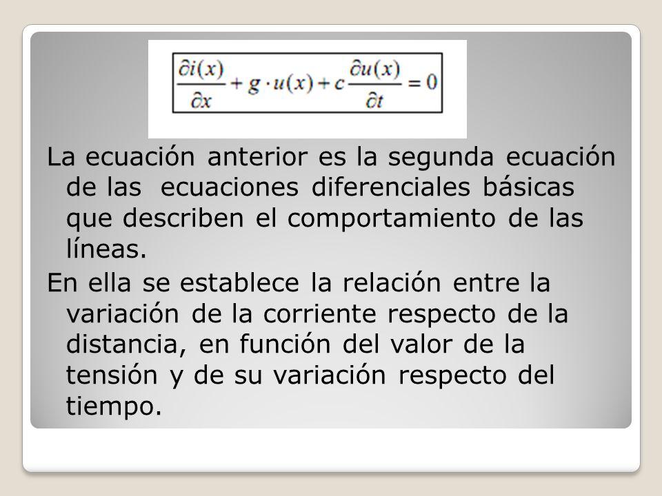 La ecuación anterior es la segunda ecuación de las ecuaciones diferenciales básicas que describen el comportamiento de las líneas. En ella se establec