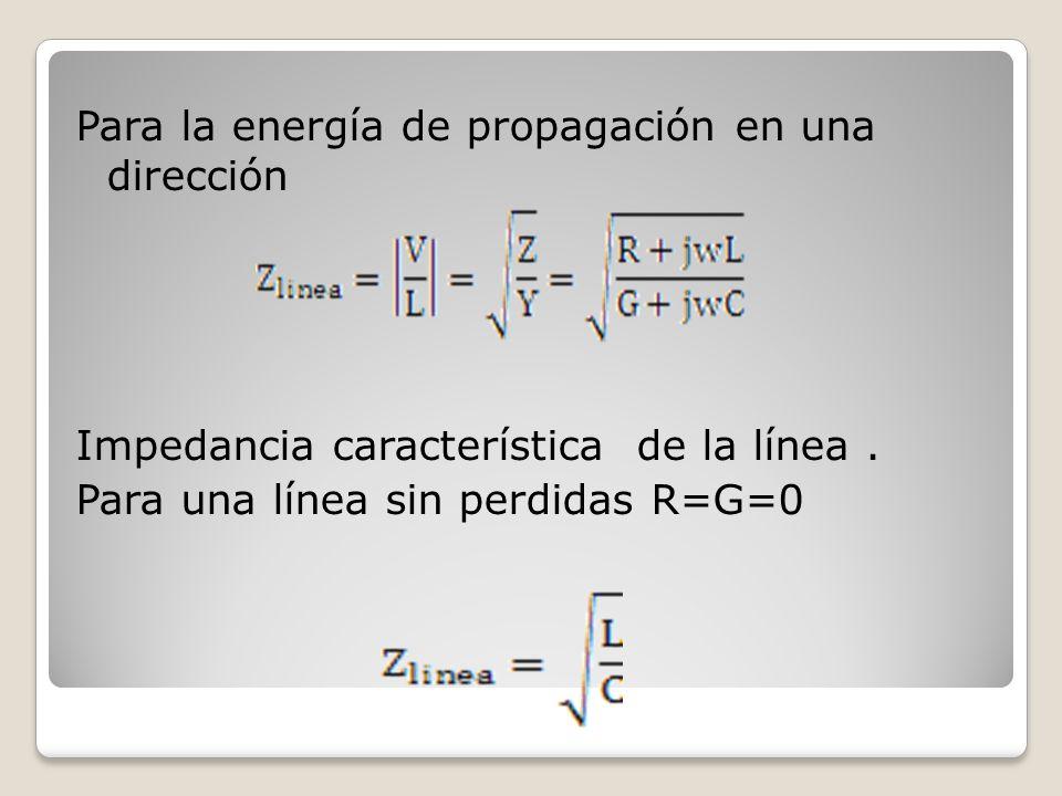 Para la energía de propagación en una dirección Impedancia característica de la línea. Para una línea sin perdidas R=G=0