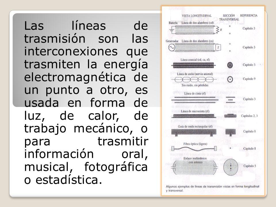 Las líneas de trasmisión son las interconexiones que trasmiten la energía electromagnética de un punto a otro, es usada en forma de luz, de calor, de
