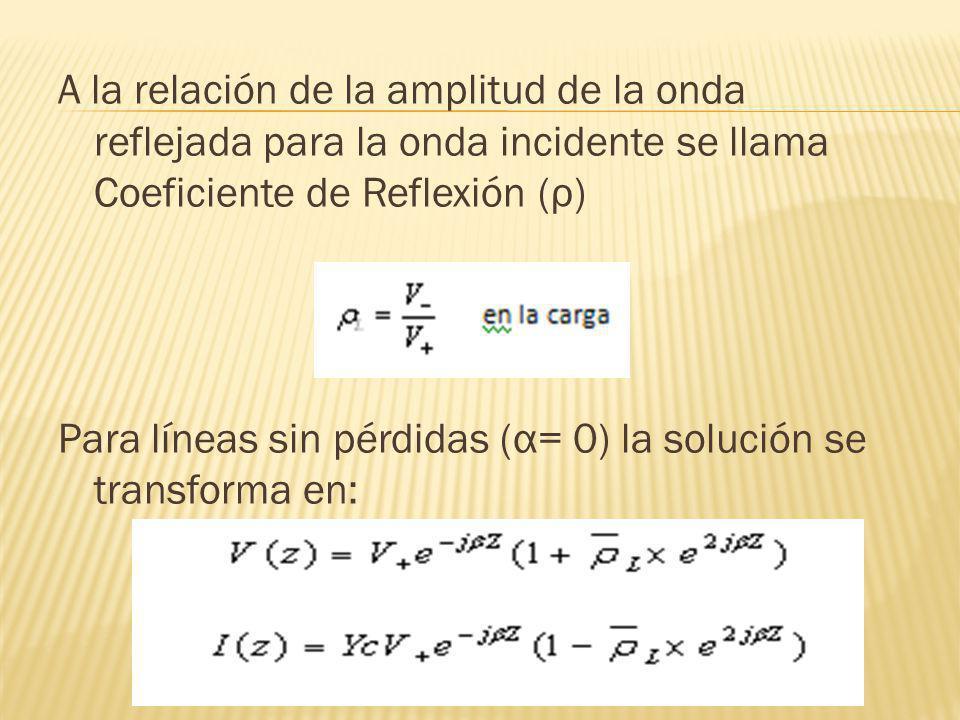 A la relación de la amplitud de la onda reflejada para la onda incidente se llama Coeficiente de Reflexión (ρ) Para líneas sin pérdidas (α= 0) la solu