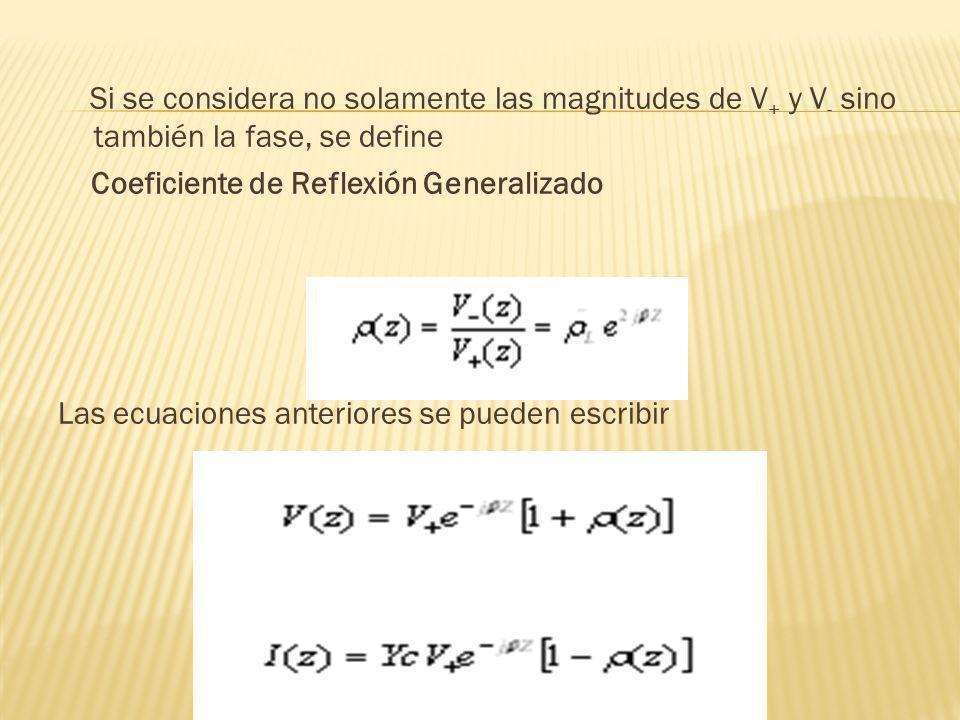 Si se considera no solamente las magnitudes de V + y V - sino también la fase, se define Coeficiente de Reflexión Generalizado Las ecuaciones anterior