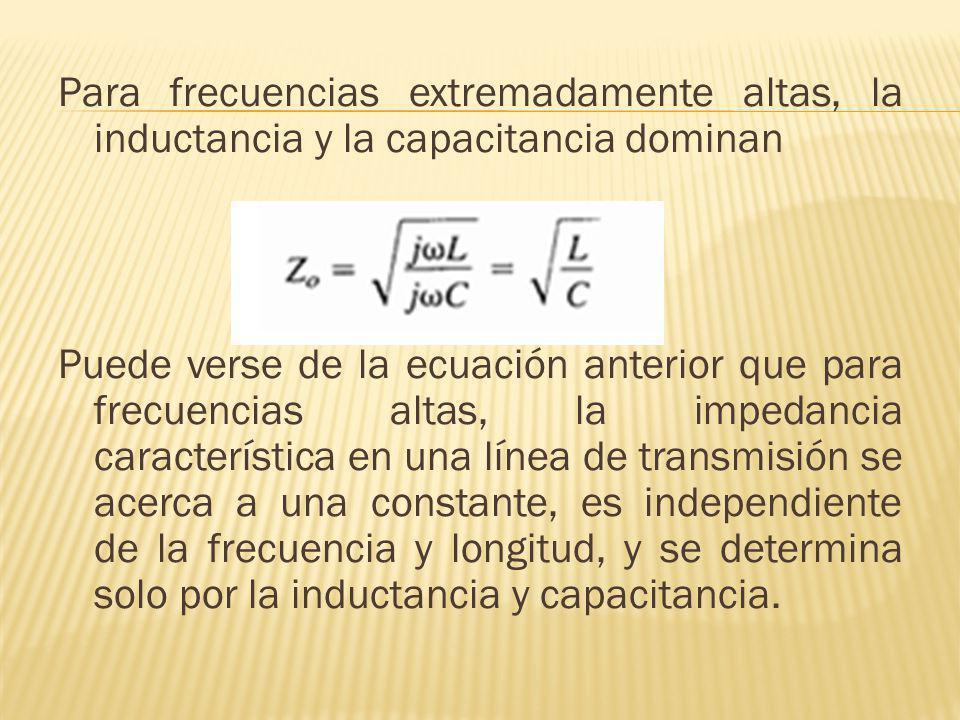 Para frecuencias extremadamente altas, la inductancia y la capacitancia dominan Puede verse de la ecuación anterior que para frecuencias altas, la imp