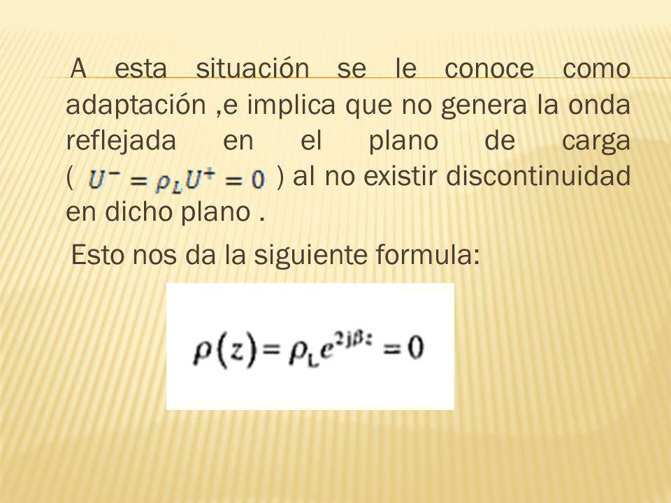 A esta situación se le conoce como adaptación,e implica que no genera la onda reflejada en el plano de carga ( ) al no existir discontinuidad en dicho