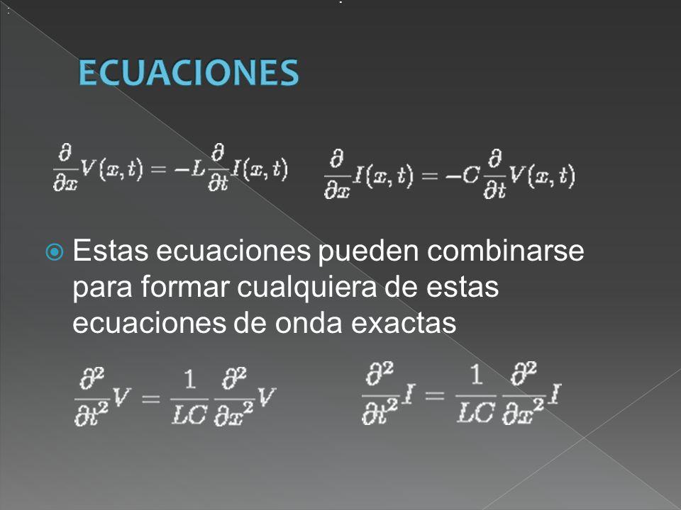 Estas ecuaciones pueden combinarse para formar cualquiera de estas ecuaciones de onda exactas : :