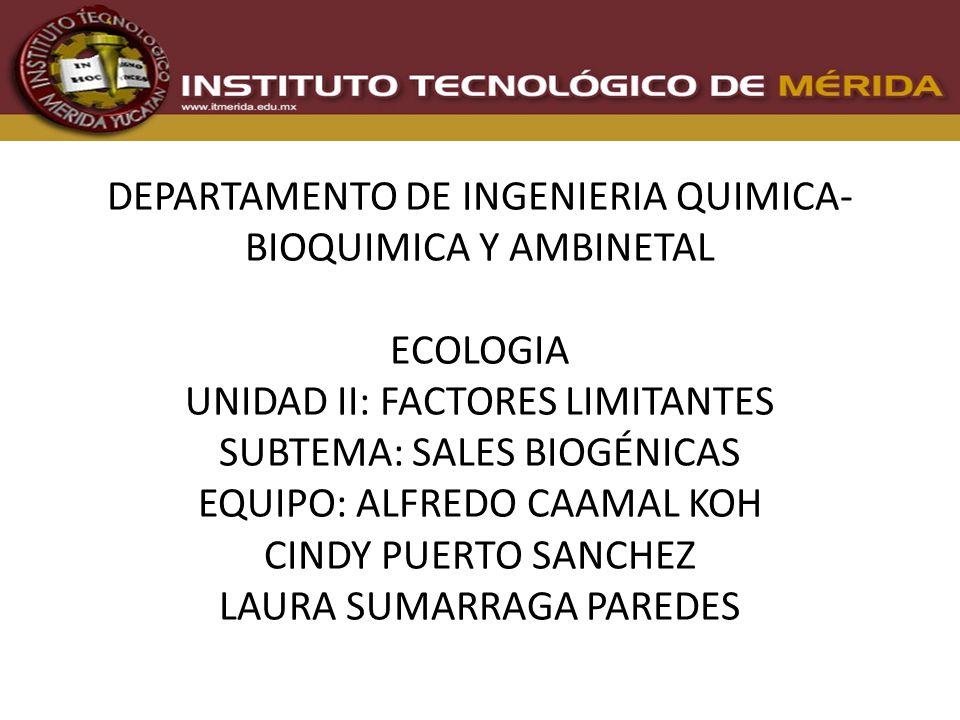 SALES BIOGENICAS Las sales Biogénicas son las sales disueltas indispensables para la vida determinantes como factores limitativos en el suelo y en el agua.