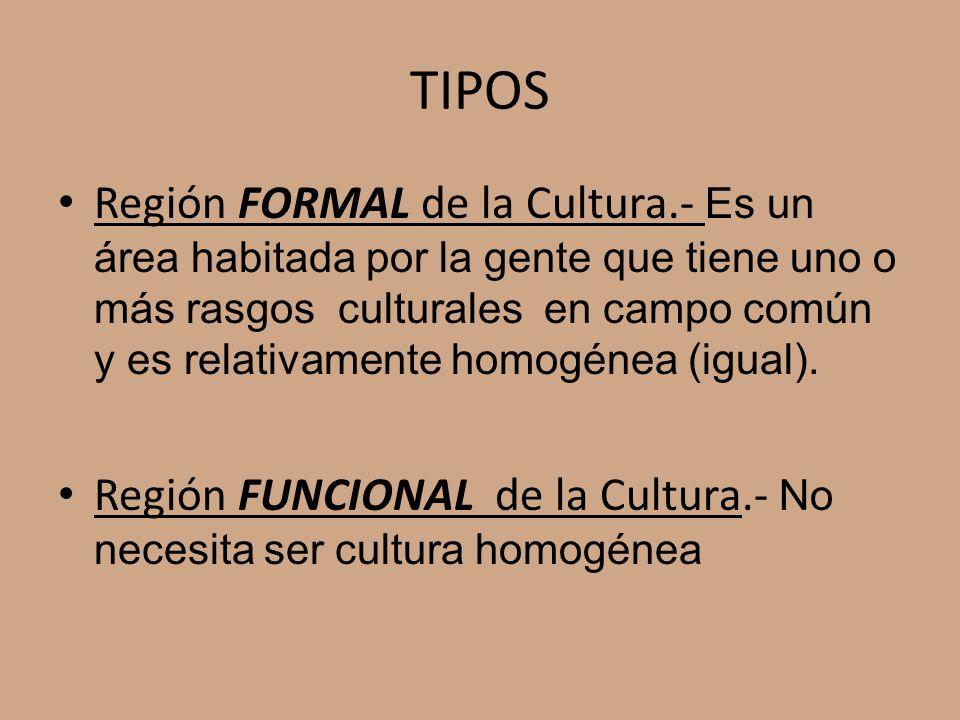TIPOS Región FORMAL de la Cultura.- Es un área habitada por la gente que tiene uno o más rasgos culturales en campo común y es relativamente homogénea (igual).