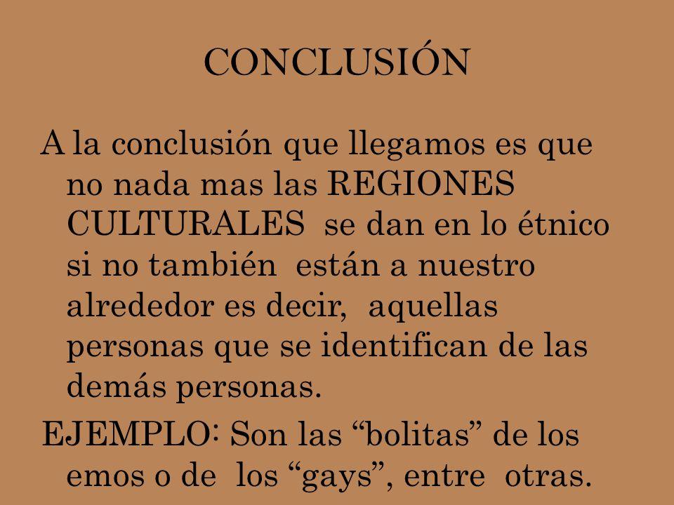 CONCLUSIÓN A la conclusión que llegamos es que no nada mas las REGIONES CULTURALES se dan en lo étnico si no también están a nuestro alrededor es deci