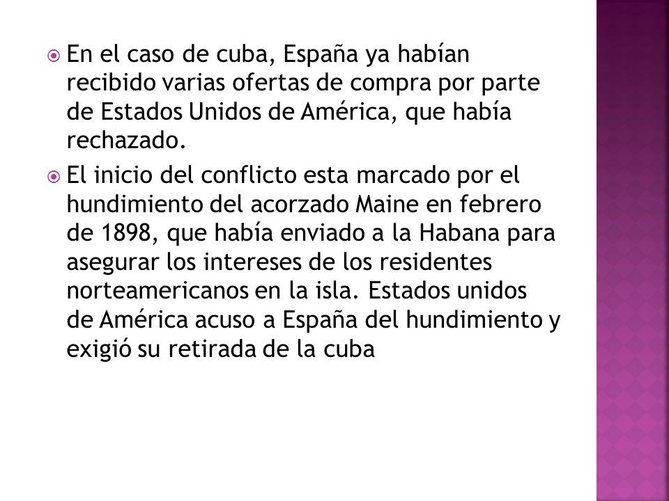 En el caso de cuba, España ya habían recibido varias ofertas de compra por parte de Estados Unidos de América, que había rechazado.