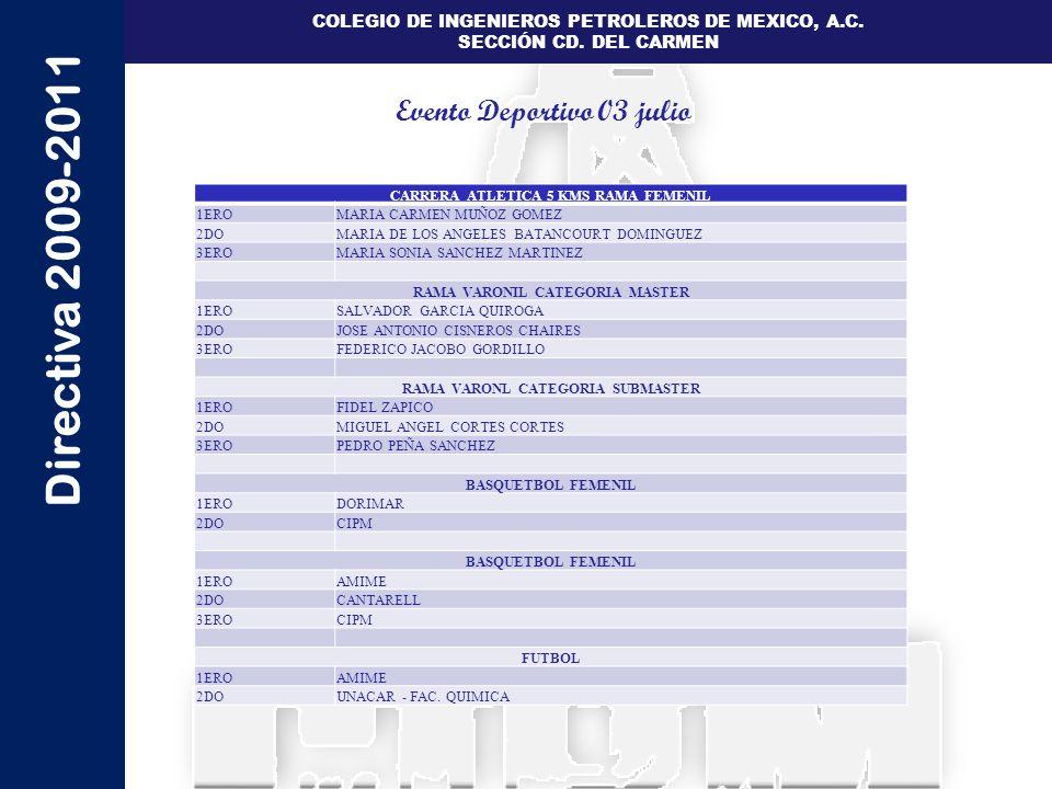 Directiva 2009-2011 COLEGIO DE INGENIEROS PETROLEROS DE MEXICO, A.C. SECCIÓN CD. DEL CARMEN CARRERA ATLETICA 5 KMS RAMA FEMENIL 1EROMARIA CARMEN MUÑOZ