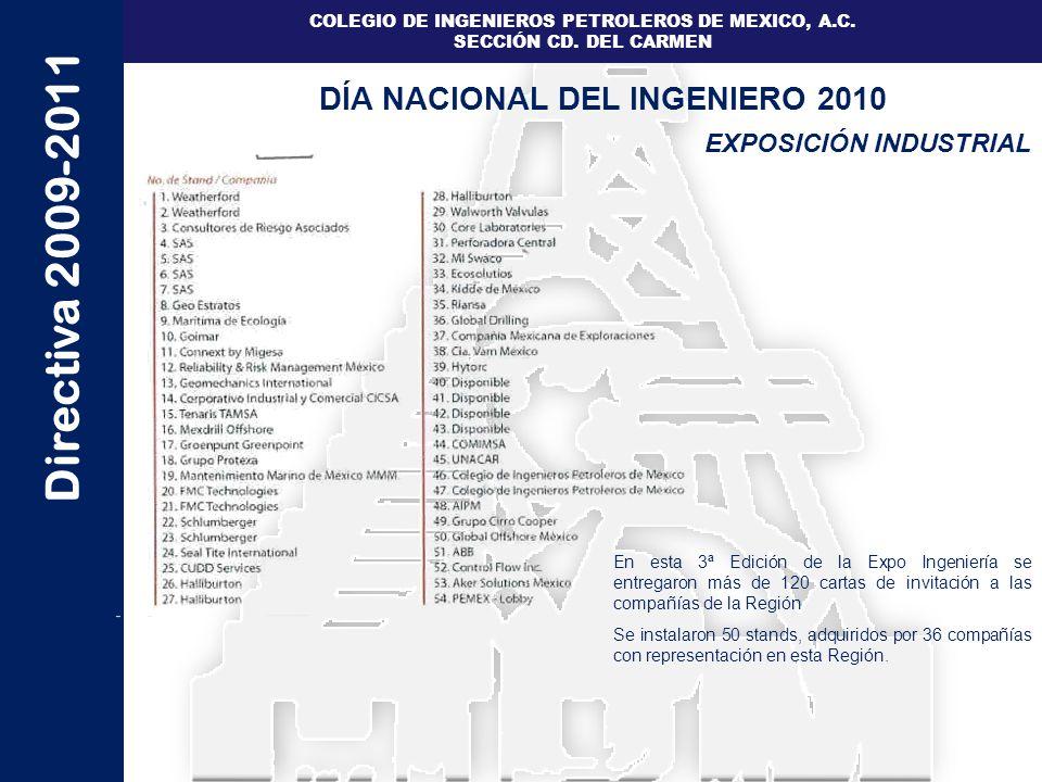 Directiva 2009-2011 COLEGIO DE INGENIEROS PETROLEROS DE MEXICO, A.C. SECCIÓN CD. DEL CARMEN EXPOSICIÓN INDUSTRIAL DÍA NACIONAL DEL INGENIERO 2010 En e