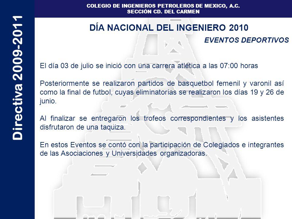 Directiva 2009-2011 COLEGIO DE INGENIEROS PETROLEROS DE MEXICO, A.C. SECCIÓN CD. DEL CARMEN EVENTOS DEPORTIVOS DÍA NACIONAL DEL INGENIERO 2010 El día