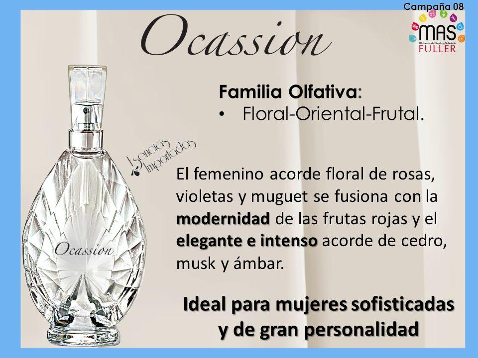 Familia Olfativa: Floral-Oriental-Frutal. modernidad elegante e intenso El femenino acorde floral de rosas, violetas y muguet se fusiona con la modern