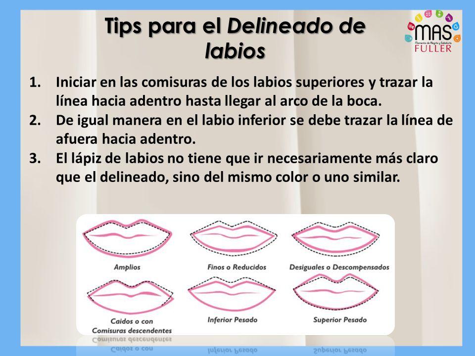 1.Iniciar en las comisuras de los labios superiores y trazar la línea hacia adentro hasta llegar al arco de la boca. 2.De igual manera en el labio inf