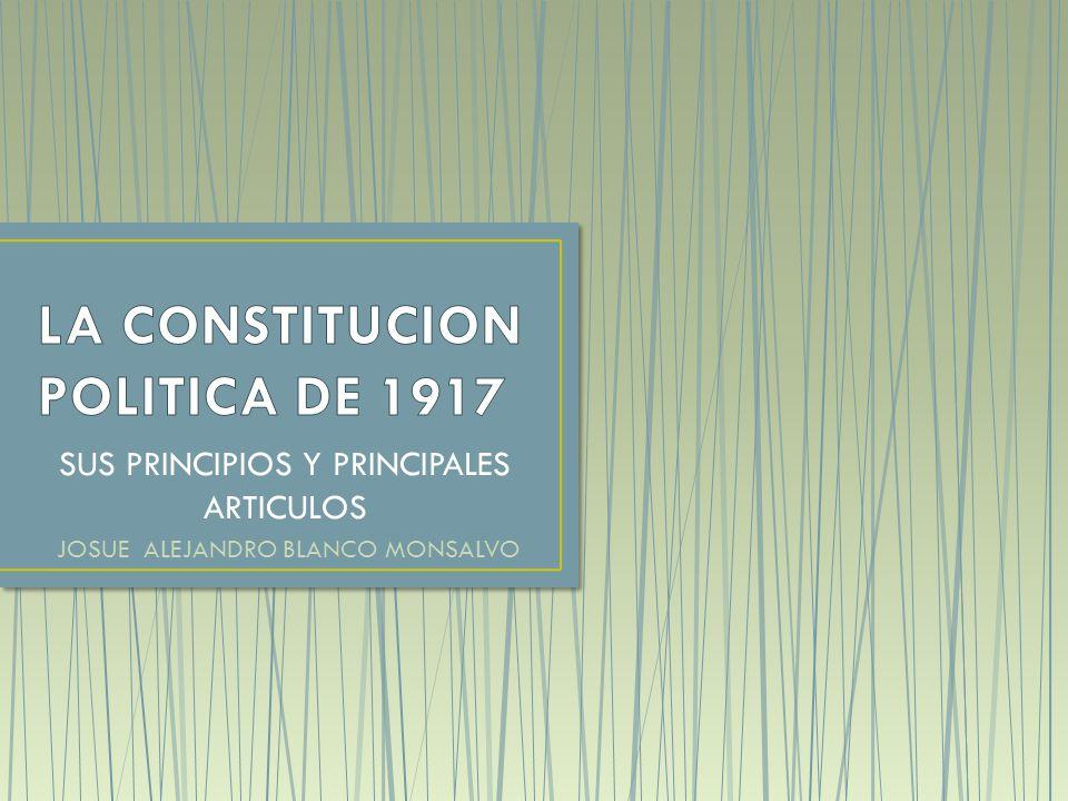 La victoria del bando constitucionalista sobre Villa y Zapata, permitió que Venustiano Carranza asumiera la presidencia y convocara a un congreso en Querétaro, con el propósito de redactar una nueva Constitución para el país, esta fue promulgada el 5 de febrero de 1917, y es la que nos rige actualmente.