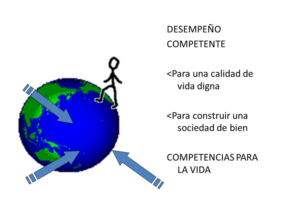DESEMPEÑO COMPETENTE <Para una calidad de vida digna <Para construir una sociedad de bien COMPETENCIAS PARA LA VIDA