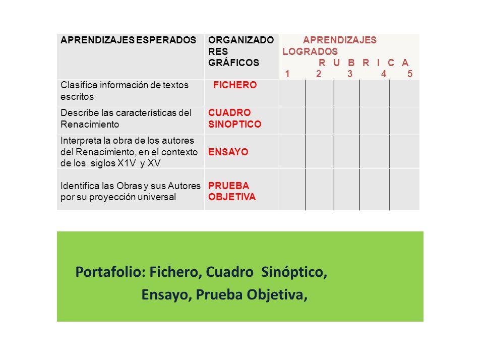 APRENDIZAJES ESPERADOSORGANIZADO RES GRÁFICOS APRENDIZAJES LOGRADOS R U B R I C A 1 2 3 4 5 Clasifica información de textos escritos FICHERO Describe