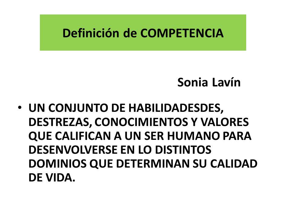 Definición de COMPETENCIA Sonia Lavín UN CONJUNTO DE HABILIDADESDES, DESTREZAS, CONOCIMIENTOS Y VALORES QUE CALIFICAN A UN SER HUMANO PARA DESENVOLVERSE EN LO DISTINTOS DOMINIOS QUE DETERMINAN SU CALIDAD DE VIDA.