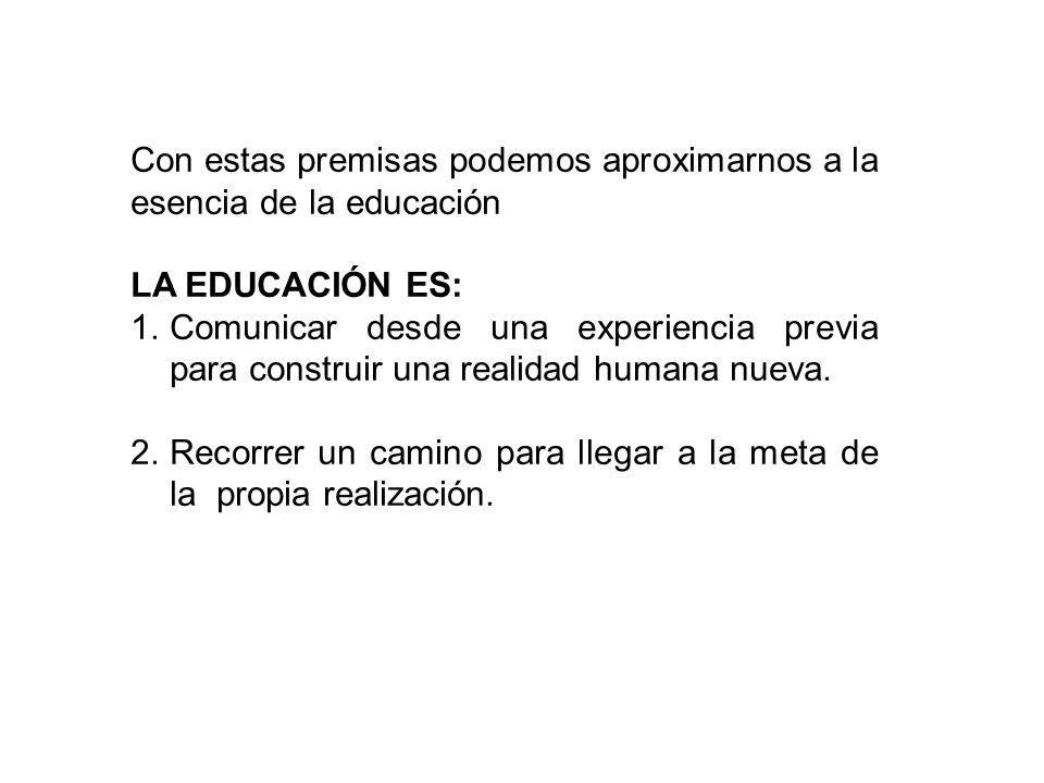 Con estas premisas podemos aproximarnos a la esencia de la educación LA EDUCACIÓN ES: 1.Comunicar desde una experiencia previa para construir una realidad humana nueva.