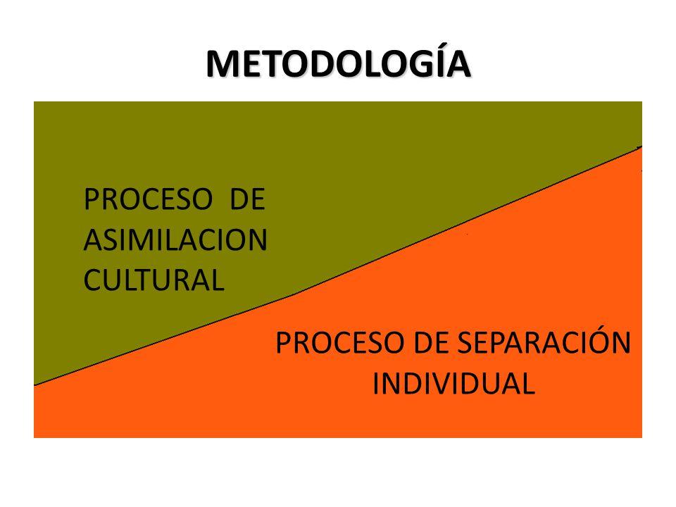 METODOLOGÍA AUTORIDAD LIBERTAD AUTORIDAD LIBERTAD PROCESO DE ASIMILACION CULTURAL PROCESO DE SEPARACIÓN INDIVIDUAL