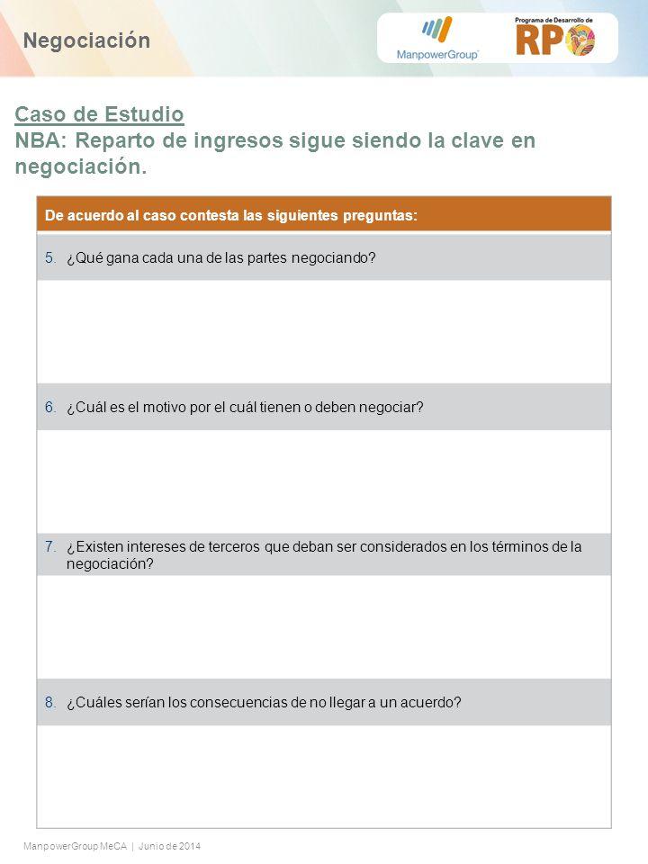 ManpowerGroup MeCA | Junio de 2014 De acuerdo al caso contesta las siguientes preguntas: 5.¿Qué gana cada una de las partes negociando.