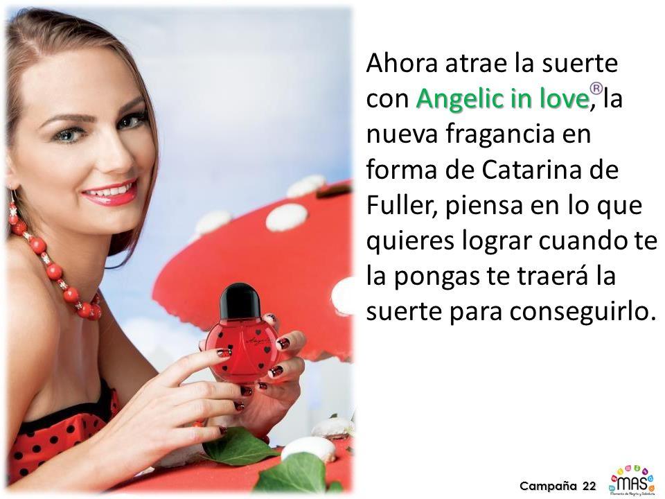 Angelic in love Ahora atrae la suerte con Angelic in love, la nueva fragancia en forma de Catarina de Fuller, piensa en lo que quieres lograr cuando te la pongas te traerá la suerte para conseguirlo.