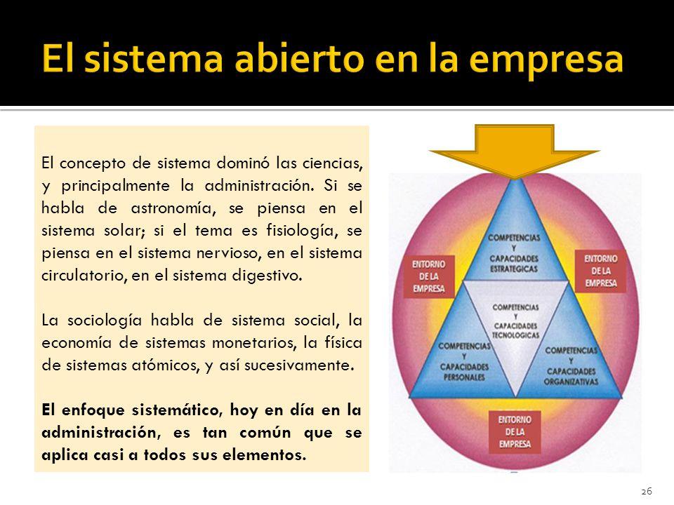 El concepto de sistema dominó las ciencias, y principalmente la administración.