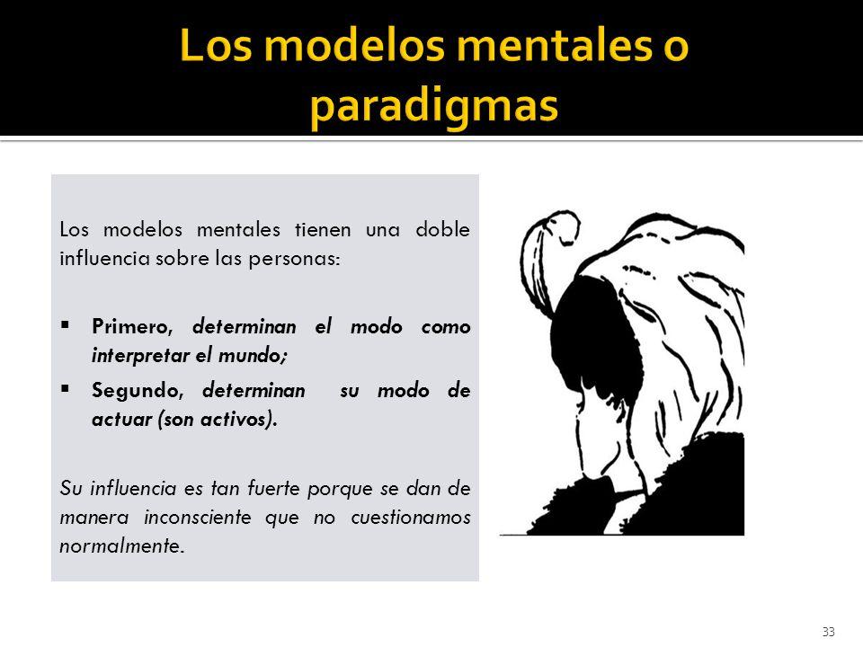 33 Los modelos mentales tienen una doble influencia sobre las personas: Primero, determinan el modo como interpretar el mundo; Segundo, determinan su modo de actuar (son activos).