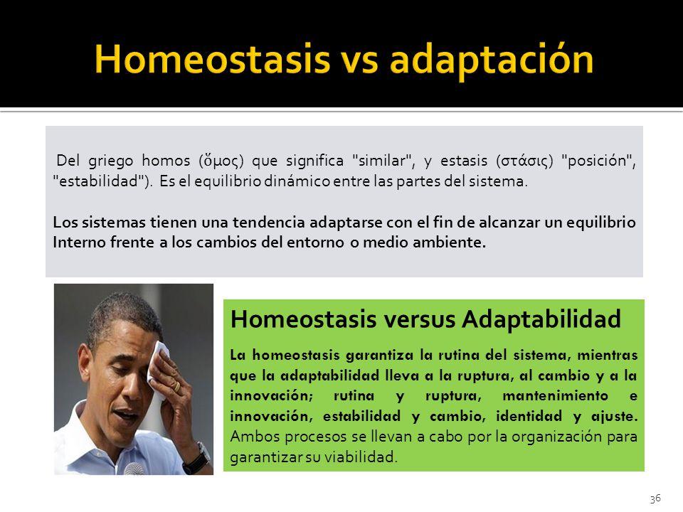 36 Del griego homos ( μος) que significa similar , y estasis (στάσις) posición , estabilidad ).