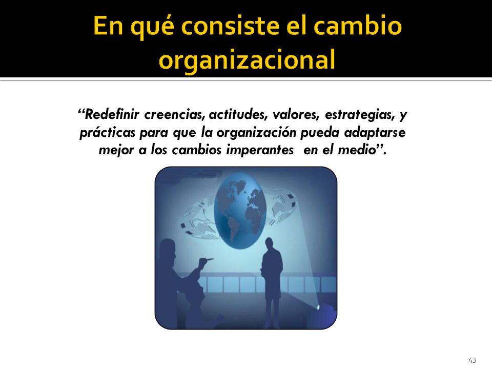 43 Redefinir creencias, actitudes, valores, estrategias, y prácticas para que la organización pueda adaptarse mejor a los cambios imperantes en el medio.