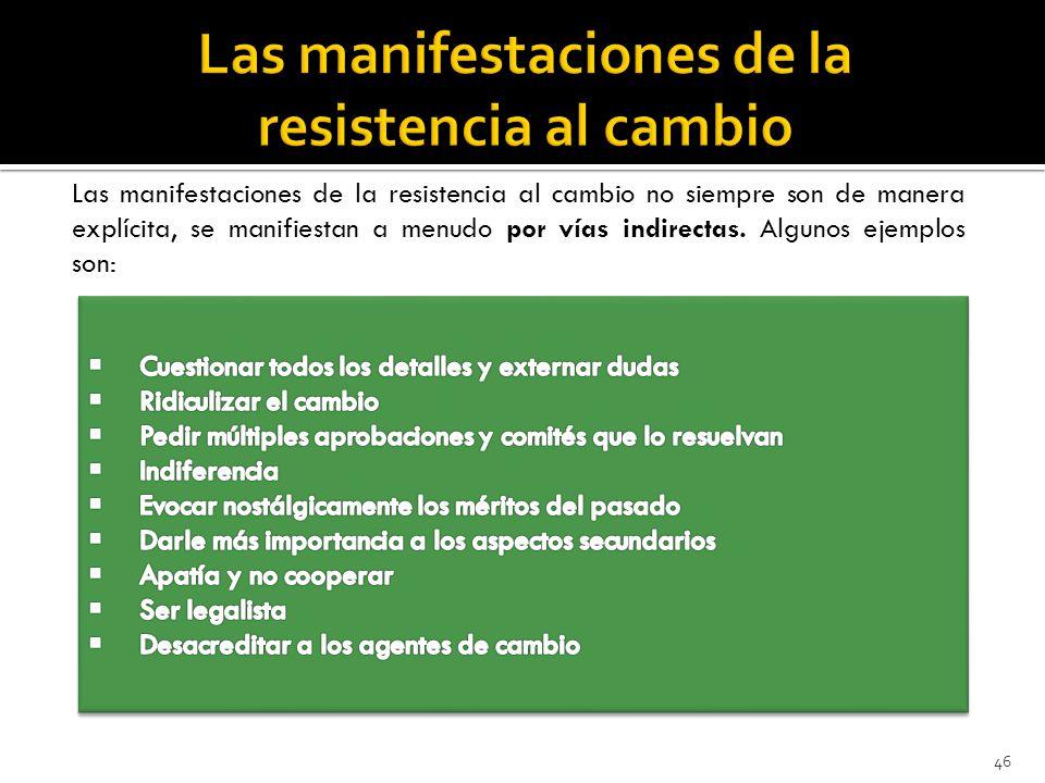46 Las manifestaciones de la resistencia al cambio no siempre son de manera explícita, se manifiestan a menudo por vías indirectas.