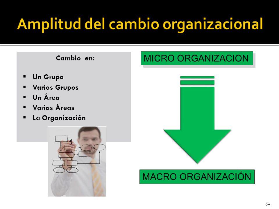 51 Cambio en: Un Grupo Varios Grupos Un Área Varias Áreas La Organización Cambio en: Un Grupo Varios Grupos Un Área Varias Áreas La Organización MICRO ORGANIZACION MACRO ORGANIZACIÓN